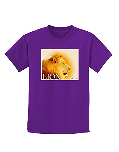 tooloud-lion-watercolor-3-text-childrens-dark-t-shirt-purple-xl