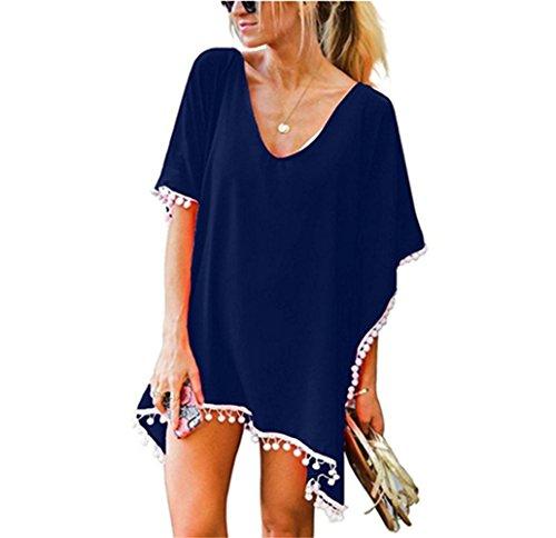 Beach Coverups for Women, Pom Pom Trim Kaftan Chiffon Swimsuit Cover Up, Navy - Cover Swimsuit Blue