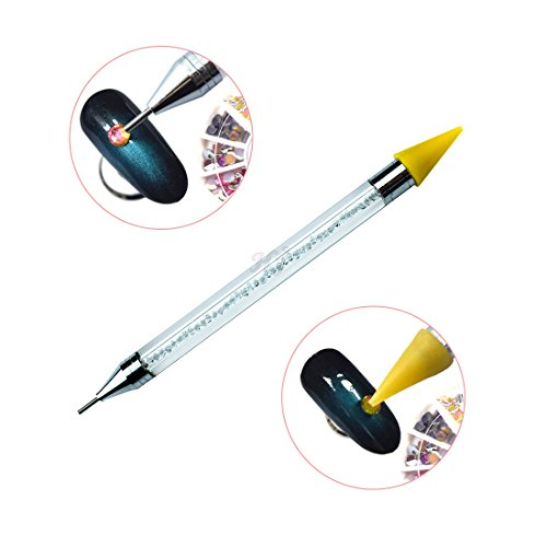 Double-head Wax Nail Rhinestone Picker Dotting Pen Acrylic Handle Gem Pick Up Applicator Tool Self-Adhesive Dot Head Tips