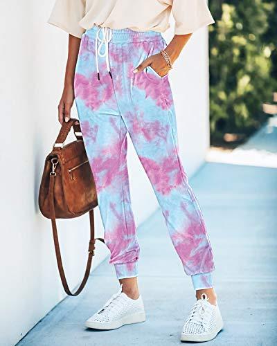 Seyorz Women\'s Joggers Pants Tie Dye Sweatpants Cuffed Soft Jogging Pants with Pockets Drawstring Design(Purple, XX-Large)