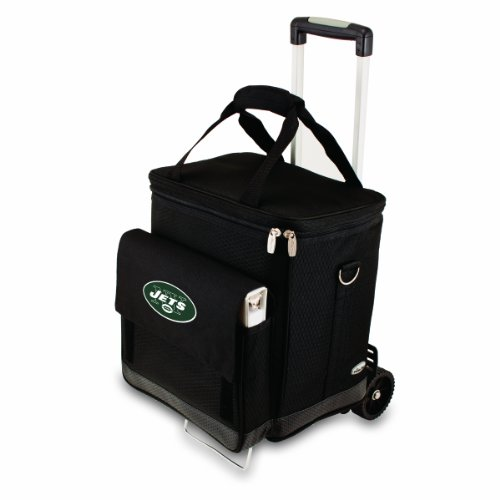 NFL New York Jets Insulated Cellar Six Bottle Wine Tote with Trolley
