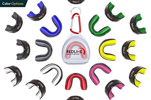 Custom Molded Mouthguard w/ Case by Redline Sportswear | Youth - Adult - Braces | Best Protection for MMA, Boxing, BJJ, Lacrosse, Football, Hockey and Other Sports | BPA Free