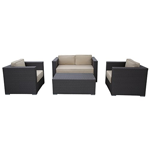 Abba Patio 4 Piece Outdoor Wicker Patio Sofa Set with Cushioned Seat, Brown