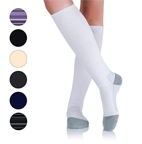 Beige Med Toe Right Leg (AprilTex Men & Women Cotton Compression Socks for Nurses, Travel, Pregnancy (White,M))