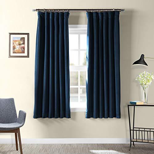 HPD Half Price Drapes VPCH-194023-63 Signature Blackout Velvet Curtain, 50 x 63, Midnight Blue]()