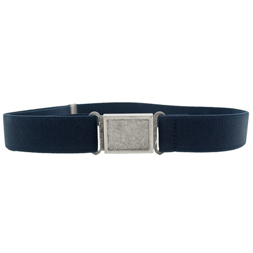 Dapper Snappers Made in USA Boys Big Kids Elastic Stretch Belt with Easy - Magnetic Buckle, Navy Blue