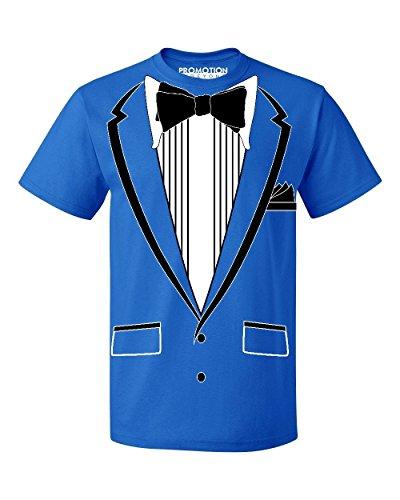 Promotion & Beyond Tuxedo (Black) with Pocket Square Ceremony Men's T-Shirt, 2XL, Royal -