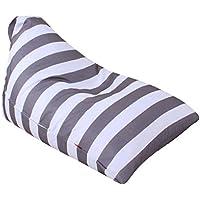 Stuff n Sit - Stuffed Animal Plush Toy Storage Bean Bag Cover Storage Bean Bag Soft Pouch Stripe Fabric Chair (Color E)