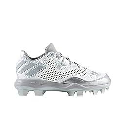 adidas Performance Women\'s Poweralley 4 W Tpu Softball Shoe, White/Aluminum/Metallic/Silver, 9.5 M US