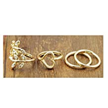 Efitty Fashion Gold Plated Leaf Heart Joint Knuckle Nail Ring Set of Four Rings