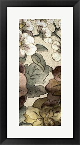 Great Art Now Earthtone Floral Panel III by Catherine Kohnke Framed Art Print Wall Picture, Black Frame, 15 x 27 - Floral Panel Earthtone