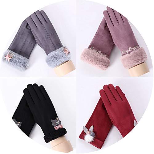 Warm Gloves Winter Plush Thick Mittens Women Wrist Touch Screen Driving Gloves