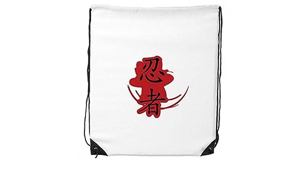 Japón Ninja palabras silueta ilustración cordón mochila ...