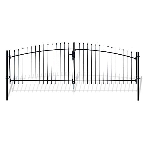 ALEKO DWGD13X5 DIY Arched Steel Dual Swing Driveway Gate Kit with Lock Athens Style 13 x 5 Feet (Iron Gate Arched)