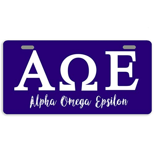 Eprocase License Plate Cover Alpha Omega Epsilon License Plate Aluminum Car Plate Decorative Car Tag Sign Metal Auto Tag Front License Plate 2 Holes (11.8