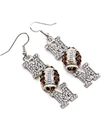 Football Mom Dangle Earrings Clear & Brown Rhinestones Sport Jewelry