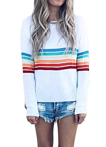 onlypuff White Rainbow T Shirt Basic Stripe Tunic Tops for Women Long Sleeve XL