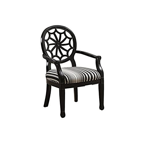 Genial Powell Furniture Black Striped Spider Back Accent Chair, Black/White