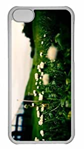 Customized iphone 5C PC Transparent Case - White Flowers Close Up Personalized Cover