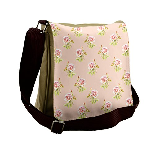 Lunarable Rose Messenger Bag, Nostalgic Flower Wedding Theme, Unisex Cross-body by Lunarable
