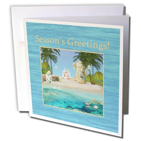 3dRose Beverly Turner Christmas Design - Beach Christmas, Santa, Mermaid, Sandcastle, Star Fish, Seasons - 6 Greeting Cards with envelopes (gc_267981_1)
