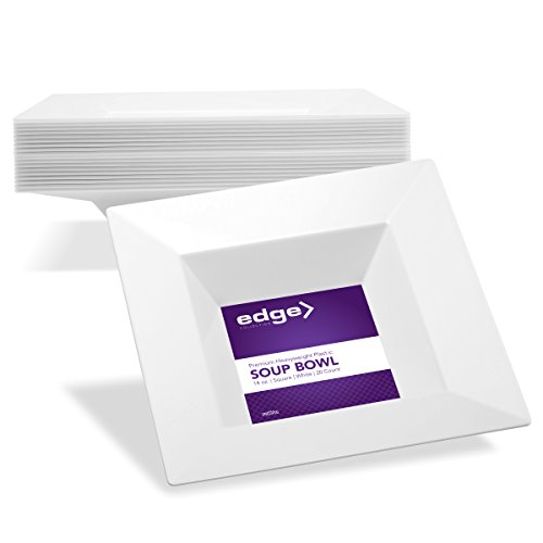 EDGE COLLECTION Heavyweight Premium Quality Fancy Decorative Square White Soup Bowls Perfect for Wedding and Party Dinnerware - 14 Oz | Pack of 40 Reusable / Disposable Plastic (Super Bowl Paper Goods)