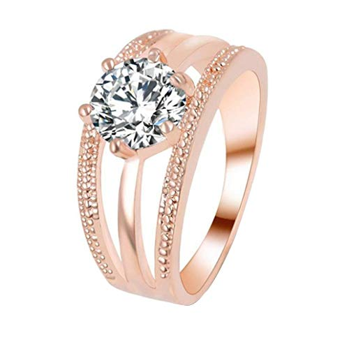 Botrong Women Wedding Engagement Ring Crystal Jewelry Rings (Ring Size 7, Rose Gold)