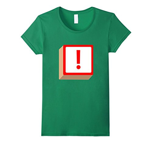 Exclamation Point Halloween Costume (Womens Exclamation Point ! Block Halloween Group Costume T-Shirt Large Kelly Green)