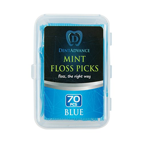 Dental Floss Picks By DentAdvance: Interdental & Gum Cleaning Floss Picks For Plaque Removal & Oral Hygiene, Easy Reach & Deep Cleansing - Mint Flavored - Blue