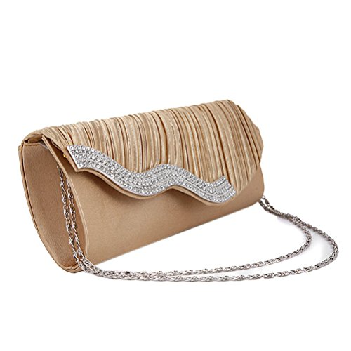 Wave Shaped Womens Gold with Satin Crystal Clutch Diamante Shoulder Ladies Bag Wedding Demarkt Evening Purse Cover Bag Party Hand vgBqP