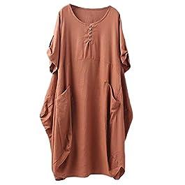 Minibee Women's Ruffle Oversize Casual Midi Dresses with Pockets