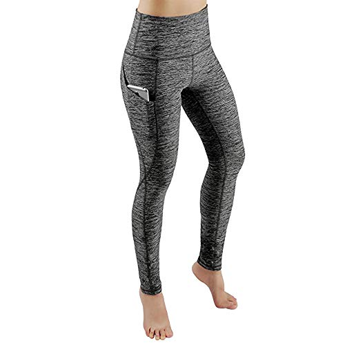 POQOQ Pants Women Workout Out Pocket Leggings Fitness Sports Gym Yoga Athletic M Gray