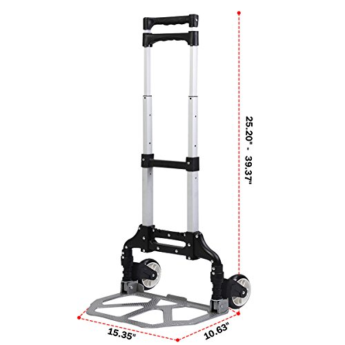 170 Lbs Cart Folding Dolly Push Truck Hand Collapsible Trolley Luggage Aluminium by Giantex (Image #1)