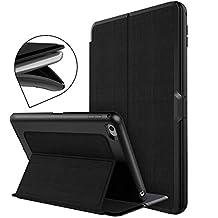 WorCord iPad Mini 4 Hülle Lederhülle Schutzhülle Etui Tasche TPU Flexibel Vollschutz Stoßfest Beständig mit Ständer Funktion und Einschlaf/Aufwach für Apple iPad mini 4 - Schwarz