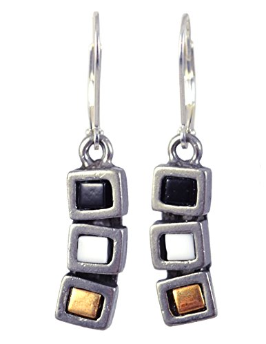 Modernist Collection: Pewter Cubist Earrings, Neutral Version - Bronze Architectural Ring