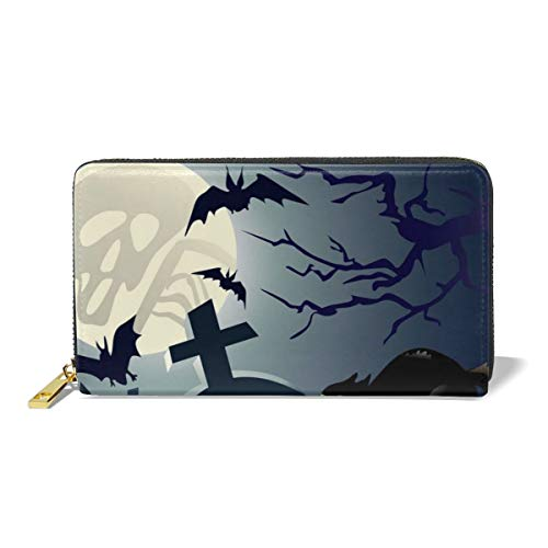 Poream Halloween Night Vector Image Cat Customized Leather Zipper Printed Clutch Bag Wallet Card Large Capacity Long Purse For Women