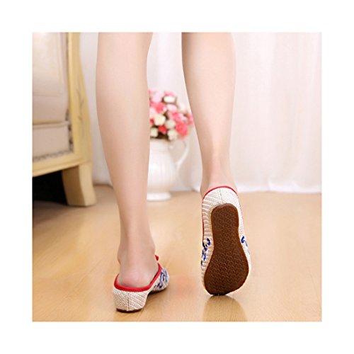 Chaussures Florales Chinoises Brodées Vintage Femme BAOTOU Ballerines Mary Jane Ballerine Flat Ballet Cotton Loafer Beige