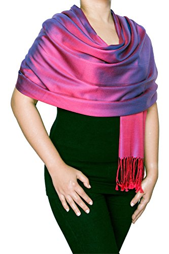 Opulent Luxury Women Scarf Shawl Wrap Reversible 100% Silk Soft Magenta & Royal Blue 70