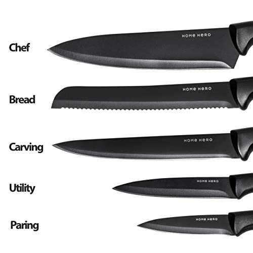 Chef Knife Set Knives Kitchen Set - Kitchen Knives Set Kitchen Knife Set with Stand - Plus Professional Knife Sharpener - 7 Piece Stainless Steel Cutlery Knives Set by HomeHero by HomeHero (Image #2)