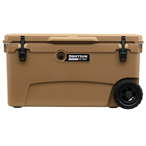 Driftsun 70-Quart Wheeled Ice Chest, Heavy Duty, High Performance Roto-Molded Commercial Grade Insulated Rolling Cooler, Tan