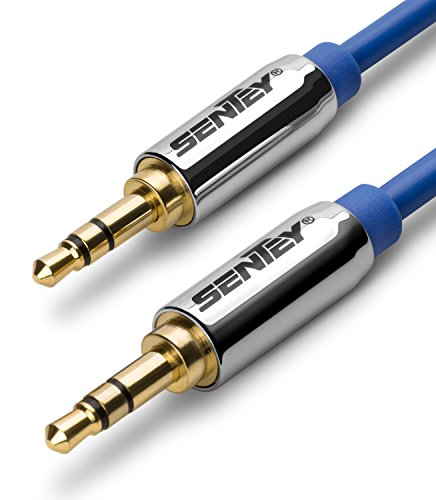 Sentey Audio Cable 1.5 Meter 5ft Stereo 3.5mm Male to Male Aux Cable (Blue) Ls-6612