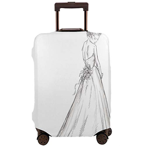 Travel Luggage Cover,Fairytale Ending Of A Love Story Princess Sketchy Bride With Flowers Suitcase Protector