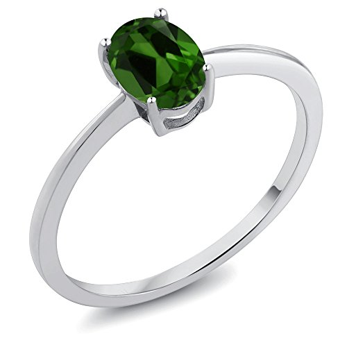 Gem Stone King 0.80 Ct Oval Green Chrome Diopside 10K White Gold Ring (Size 8)