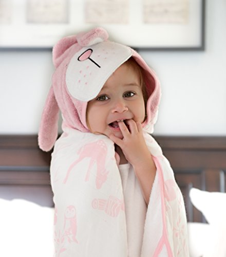 Organic Bamboo Baby Hooded Towel by Clover & Sage - Pink - Towel Baby Bath Bunny