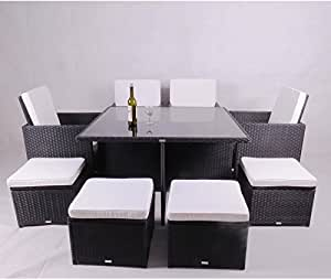 Yopih Rattan Garden Furniture Aluminium Outdoor Patio Set Cube Weave Wicker Dining 9pcs (9PCS SET) PRE-ORDER WILL DELIVERY IN 30 DAYS