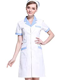 XinAndy Women's White Scrubs Lab Coat Short sleeves