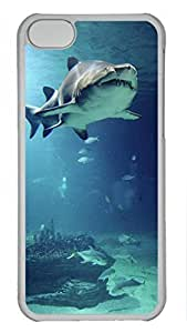 Shell Case for iphone 5C with Underwater View Of Shark And Tropical Fish DIY PC Transparent Hard Skin Case for iphone 5C