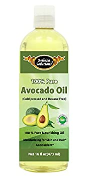 Belleza Solutions Avocado Oil 16 OZ - 100% Pure Cold pressed and Hexane free - No Synthetic Preservatives, Colors or Fragnances - Natural Moisturizer from Head to Toe & Best Carrier Oil - Works wonders for your hair, scalp, face, body and feet. Perfect for massaging