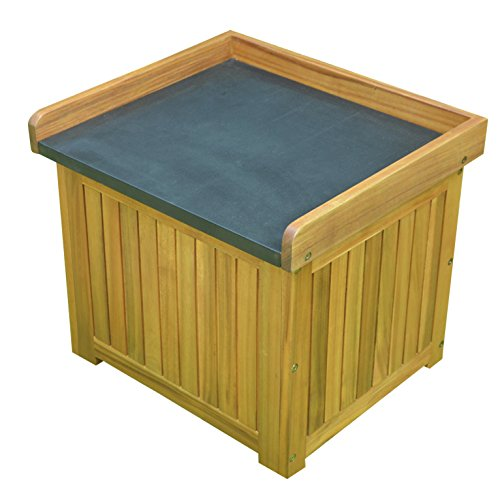 Solid Wood Storage Deck Box () Black Powder Coated Steel Top With Natural Oiled Color Finish. Weather Resistance, Assembly Required.19.69'' H X 22.64'' W X 19.69'' D by Landmann