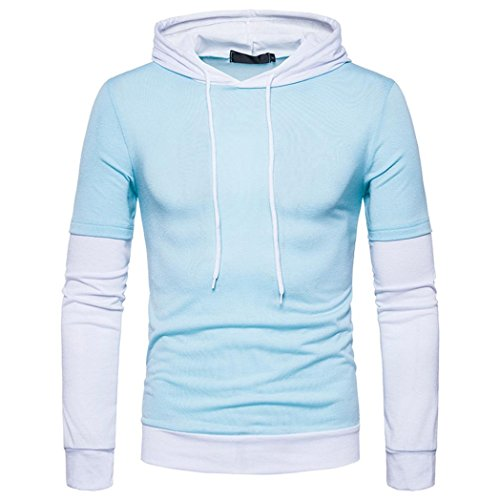 HOT ! YANG-YI Mens' Autumn Winter Solid Patchwork Hoodie Solid Hooded Sweatshirt Tops Blouse (Blue, S) by YANG-YI Mens